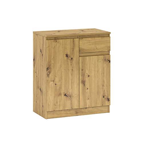 GLmeble Kommode mit Mehreren Schubladen Mehrzweckschrank für Schlafzimmermöbel, Massive Laminatplatte (Eiche, A2)