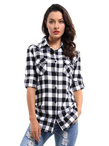 OCHENTA Women's Long Sleeve Button Down Plaid Flannel Shirt Casual Tops D055 Black White M