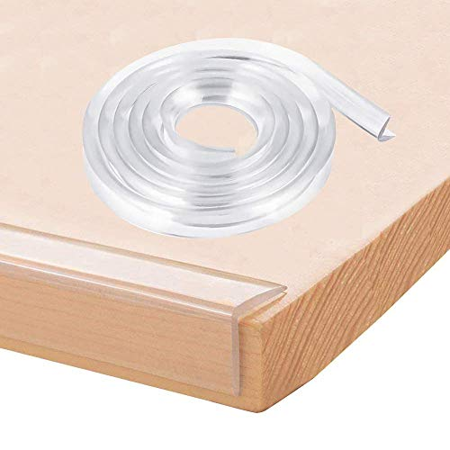 E-PROUSE - Protector de bordes transparente para esquinas de muebles (6 m, con cinta adhesiva de 14 m, para armarios, mesas, cajones)