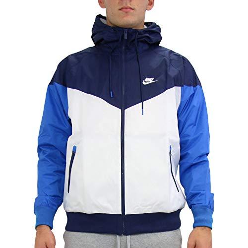 Nike M NSW HE WR JKT HD Vestes Hommes Bleu/Blanc - L - Coupes Vent