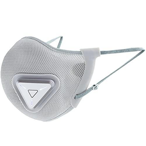 MRG 電動ファン付きマスク フルセット スポーツ 運動 息がしやすい 涼しい 空調 シンプル 花粉対応 高機能 通気性 ハウスダスト マスク (フィルター10枚, グレー)
