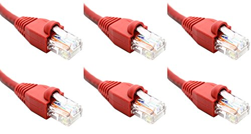 Ultra Spec Kabels Pack van 6 - Rood 2FT Cat6 Ethernet Netwerk Kabel Lan Internet Patchkabel RJ45 Gigabit
