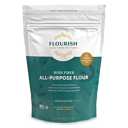 Flourish Fiber from The Farm - High Fiber/ Low Carb, Unbleached All Purpose Flour, 5 lbs