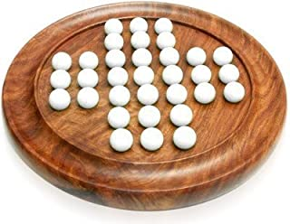 ITOS365 Wooden Handmade Games Solitaire Board with Glass Marbles - Gifts for Kids and Adults