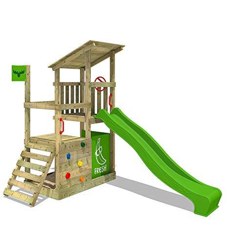 FATMOOSE Kletterturm FruityForest Fun XXL Spielturm Klettergerüst mit Rutsche, 3 Spielebenen und großem Sandkasten