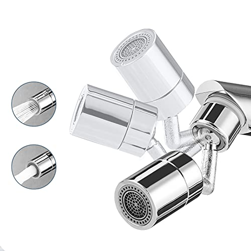 EIGSO Movable Kitchen Sink Aerator - 360° Rotatable Faucet Sprayer Head Replacement for Kitchen, Anti-Splash Tap Aerator Faucet Nozzle with 3 Modes Adjustment (720 Silver)