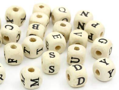 Handarbeit-Lieblingsladen 200 Stück Buchstabenperlen aus Holz 10x10mm mit 4mm Loch, eckig, basteln (300)