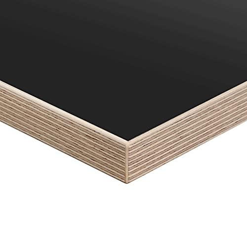boho office® Tischplatte, Schreibtischplatte 160 x 80 x 2.5 cm in Schwarz mit Echtholz-Multiplexkante in Birke mit hoher Kratzfestigkeit