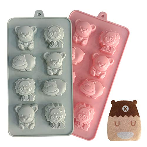 Silicone Candy Molds, Chocolate Molds, homemade cupcakes, Jello, Ice Cubes, Cake, Candy, Animals Cute Shapes Molds, 2 Pack, with Cute Sponge Brush