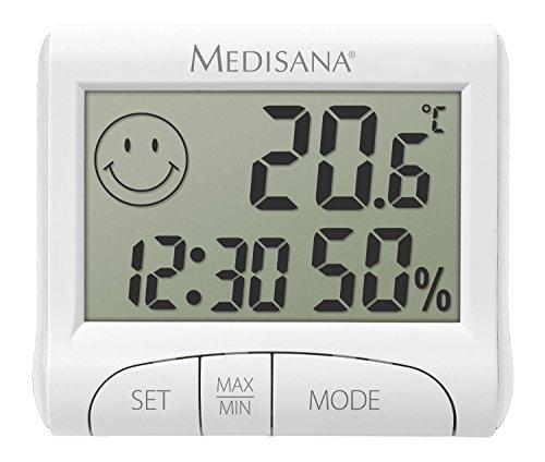 Medisana HG 100, digitales Hygrometer für innen, Thermometer mit Luftfeuchtigkeit, Raumtemperatur, Uhrzeit, Anzeige der Luftbefeuchtung in Innenräumen
