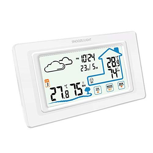 ALLOMN Funkwetterstation, Multifunktions Berührungssteuerung Temperatur Hygrometer Wettervorhersage Uhr/12/24H/Kalender/Wettervorhersage/Schlummeralarm/LED Hintergrundbeleuchtung (Weiß)