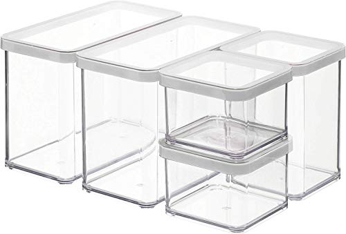 Rotho Loft 5er-Set Vorratsdosen mit Deckel verschiedene Größen, Kunststoff (SAN) BPA-frei, transparent/weiss, 2 x 2,1l, 1 x 1,0l, 2 x 0,5l (30,0 x 21,0 x 15,0 cm)