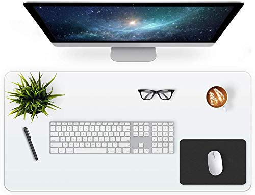 Clear Desk Pad Blotter 16 X 32 Inch Office Desk Mats Table Protector on Top of Desks for Laptop Computer Keyboard Transparent Desktop Cover Vinyl PVC Desk Writing Mat with Mouse Pad Waterproof Plastic