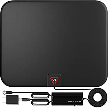 Gesobyte Amplified HD Digital TV Antenna Long 250+ Miles Range - Support 4K 1080p Fire tv Stick and All Older TV s - Indoor Smart Switch Amplifier Signal Booster - 18ft Coax HDTV Cable/AC Adapter