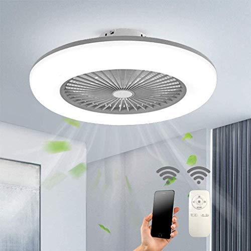 Deckenventilator Mit Beleuchtung LED Fan Deckenleuchte Einstellbare 3 Windgeschwindigkeit Dimmbar Mit APP Und Fernbedienung 32W Moderne LED Deckenlamp Für Schlafzimmer Wohnzimmer Esszimmer,Grau