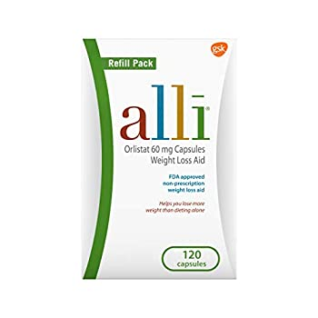 alli Weight Loss Diet Pills Orlistat 60 mg Capsules Non Prescription Weight Loss Aid 120 Count Refill Pack  46925