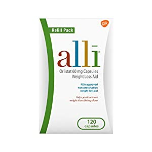 alli Weight Loss Diet Pills, Orlistat 60 mg Capsules, 120 Count Refill Pack 5