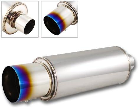 """JDM 4/"""" N1 Slant Rainbow Burnt Tip Stainless Exhaust Muffler 2.5/"""" Inlet+Silencer"""