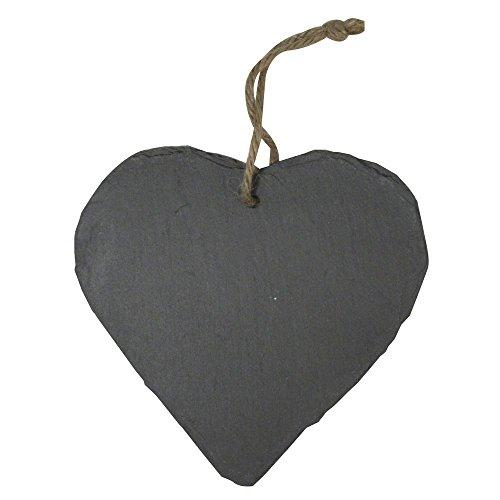 MCK-Handel Schieferherz Herz aus Schieferstein Natur belassen Größe 20cmx20cmx0,4cm mit Band zum aufhängen als Wanddekoration Türschild, Wandschild auch zum selber beschriften