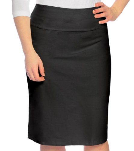 Kosher Casual Kids Big Girls' Modest Knee Length Stretch Pencil Skirt in Lightweight Cotton Lycra Large Black