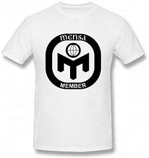 HUANGA Men's Short Sleeve T Shirt Mensa Logo White