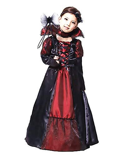 Disfraz de vampiro - chica - disfraces para niños - halloween - carnaval - vampiro - vampirina - drácula - crepúsculo - niña de color negro - talla l - 8/9 años - idea de regalo twilight