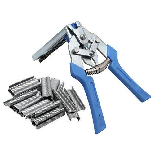 MYB Supplies 1 alicates de anillo de cerdo y 600 grapas de clips, pinzas M Clip Grapas grapas de malla para pájaros instalación de alambre. (azul)