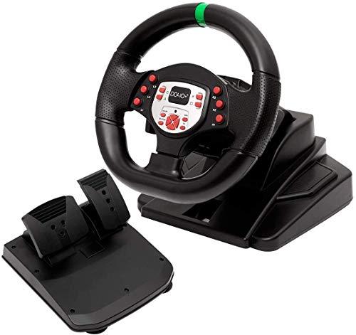 WUAZ 180 degrés Moteur Vibration Sport en Jeu Volant de Course avec Vitesse Responsive et pédales pour PS3 / Switch/PC/TV Box