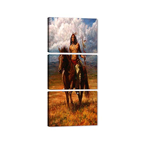 """Yatsen Bridge - Indian Warrior Wall Art Canvas Native American Chief Riding Horse Picture Post Print with Framed 3 Pieces Sunset Background Style Artwork Ready to Hang - 28""""W x 60""""H"""