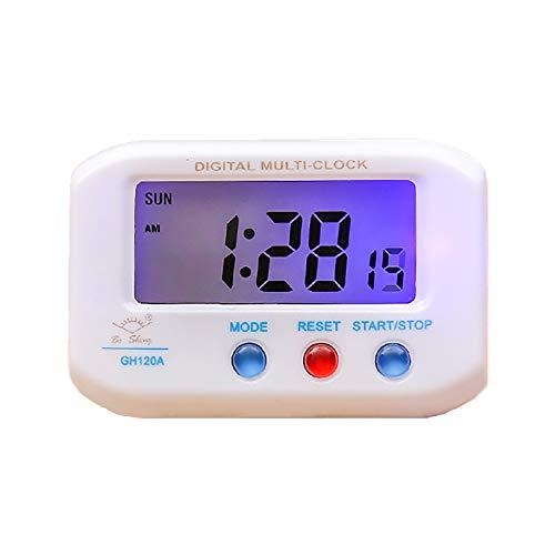 LAJIOJIO Reloj despertador digital multifunción, funciona con pilas, reloj electrónico portátil, con indicador de temperatura y humedad, retroiluminación para mesita de noche