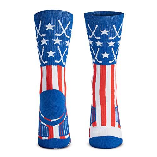 ChalkTalkSPORTS Hockey Half Cushioned Crew Socks   Patriotic   Red/White/Blue