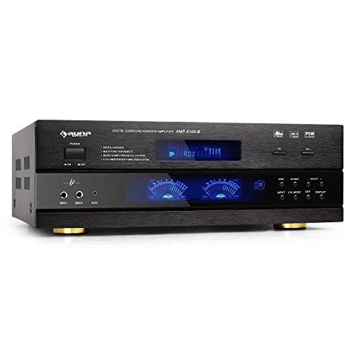 auna AMP-5100-5.1-Kanal Verstärker, 5.1 Surround Receiver, HiFi-Endstufe, 320 Watt RMS, für Heimkino-, HiFi- & Karaokeanlagen, Fernbedienung, schwarz