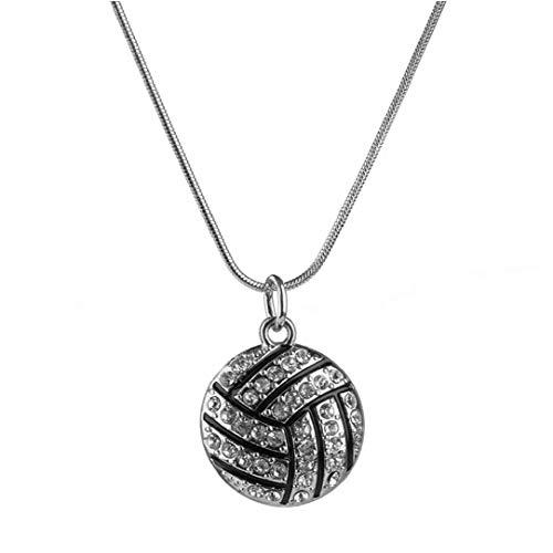 Squisiti gioielli Pallavolo Collana con strass di cristallo di sport della catena del serpente Chic collana per la donna ragazze (argento nero) accessori per il trucco