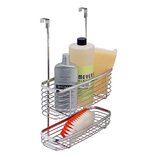 iDesign Axis Over the Cabinet 2-Tier Kitchen Storage Basket Organizer for Aluminum Foil, Sandwich Bags, Cleaning Supplies, Garbage Bags, Bath Supplies, Chrome