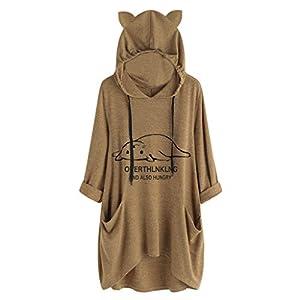 Camisa de Bolsillo con Estampado de Orejas de Gato de Manga Larga con Capucha Informal para Mujer Blusa Superior Irregular Sudaderas con Capucha Mujer Deportivas Blusa Nuevo OtoñO
