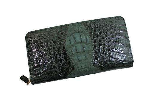 クロコダイル 長財布 カイマン 財布 シャイニング加工 ヘッド 一枚革 センター取り 最上級品 グリーン