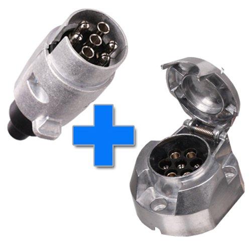 SET: Anhängerstecker + Dose 7-polig Aluminium - Steckdose - Anhänger - Stecker