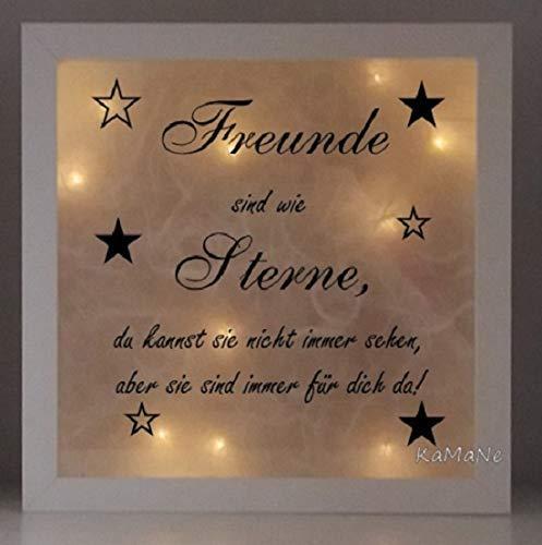 beleuchteter Bilderrahmen 3D Leuchtrahmen LED Freunde sind wie Sterne Nachtlicht Geschenk zum Geburtstag Einzug Kommunion Konfirmation Taufe Firmung Geschenkidee zu Weihnachten Weihnachtsgeschenk