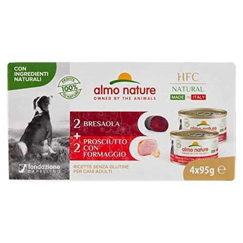 almo nature Hfc Natural Made in Italy Multipack. 4 X 95g. 2X Bresaola; 2X Prosciutto & Formaggio. Cibo Naturale Umido per Cani Adulti - Prodotto in Italia