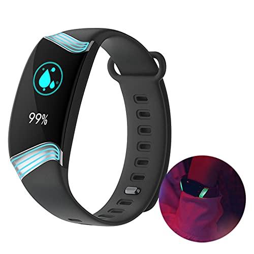 HQPCAHL Smartwatch Reloj Inteligente Fitness Tracker con Monitor De Oxígeno En Sangre De La Presión Arterial del Sueño del Ritmo Cardíaco IP67 A Prueba De Agua, Reloj Deportivo,Negro