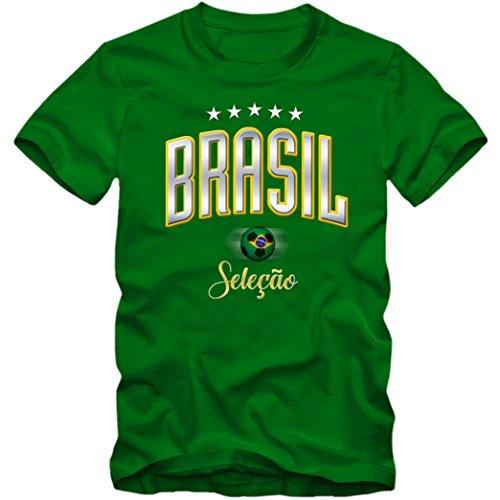 Kinder T-Shirt Brasil Brasilien Brazil Fußball Soccer Football WM Trikot 5 Sterne DTG, Farbe:grün, Größe:12-14 Jahre (152-164cm)