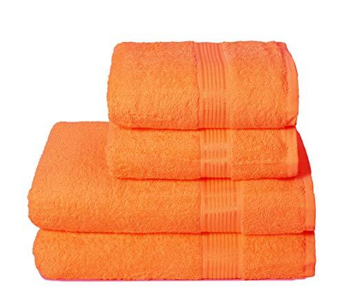 GLAMBURG Juego de 4 Toallas Ultra Suaves, de algodón, Contiene 2 Toallas de baño de 70 x 140 cm, 2 Toallas de Mano de 50 x 90 cm, Uso Diario, Compacto y Ligero, Color Naranja