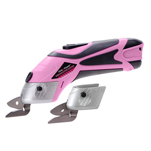 Pink Power Electric Fabric Scissors Box Cutter for Crafts, Sewing, Cardboard, Scrapbooking - Cordless Shears Cutting Tool