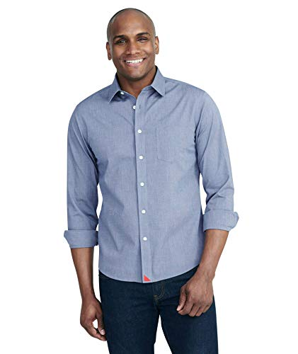 UNTUCKit Pio Cesare - Men's Button Down Shirt Long Sleeve, Wrinkle-Free, Solid Navy, Medium Regular Fit
