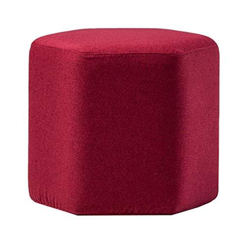 Poufs et repose-pieds Tabouret Canapé Pouf Ottoman Tabouret Bas Renforcé Cadre En Bois Massif Tabouret Tabouret En Tissu, 42 × 42 × 40cm (longueur × largeur × hauteur) (Rouge) (Couleur : Red)