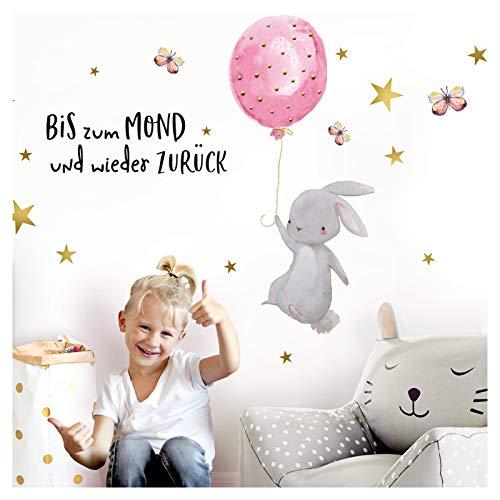 Little Deco Wandtattoo Babyzimmer Hase & Spruch Bis zum Mond Sterne I M - 89 x 62 cm (BxH) I Luftballon Rosa Kinderbilder Deko Kinderzimmer Mädchen Aufkleber Sticker DL239
