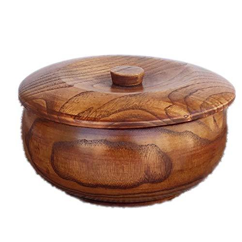 Yipianyun Holz Schalen Salatschüssel, Rund Servierschüssel Handgemachte Früchte Obstteller Verwenden Sie Als Rührschüssel Mit Deckel,Braun