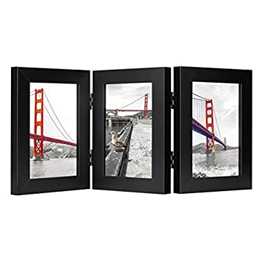 Frametory, 4x6 Inch Hinged Picture Frame with Glass Front - Made to Display Three 4x6 Inch Pictures, Stands Vertically on Desktop or Table Top (Triple, Black)