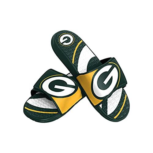 FOCO NFL Green Bay Packers Mens Sport Shower Gel Slide Flip Flop SandalsSport Shower Gel Slide Flip Flop Sandals, Colorblock Big Logo, Small (7-8) (FFSSNFCBBLGGEL)