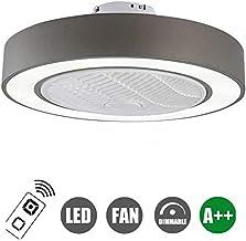 JXILY Ceiling Fan Lamp Remote Control LED, Modern LED Bedroom Fan Chandelier Dimmable, Silent Fan 3-Speed Adjustable, Living Room Dining Room Chandelier,Gray,110v